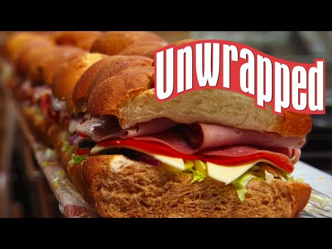 How giant 6-feet-long subway subs are made (from unwrapped) | unwrapped | food network
